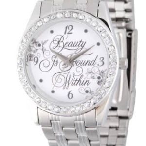 """DISNEY """"BEAUTY IS FOUND WITHIN"""" STAINLESS WATCH"""